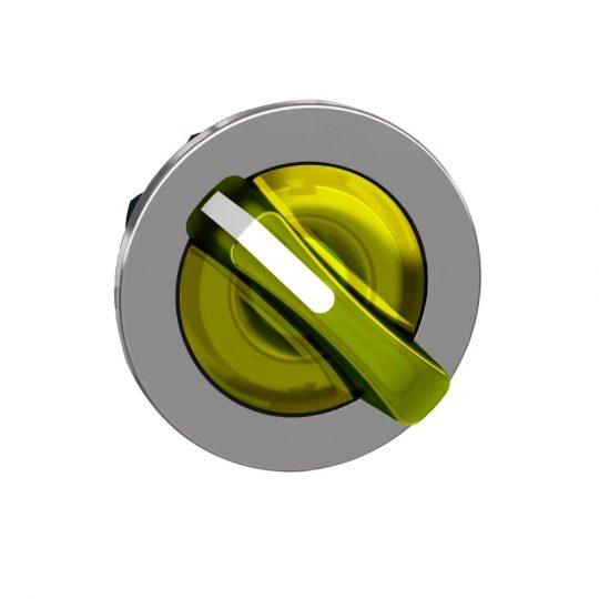 Schneider ZB4FK1483 Harmony panelbe süllyesztett fém világító választókapcsoló fej, Ø30, 2 állású, sárga, jobbról visszatérő