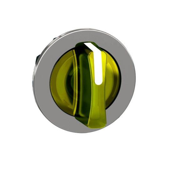 Schneider ZB4FK1583 Harmony panelbe süllyesztett fém világító választókapcsoló fej, Ø30, 3 állású, sárga, középre visszatérő
