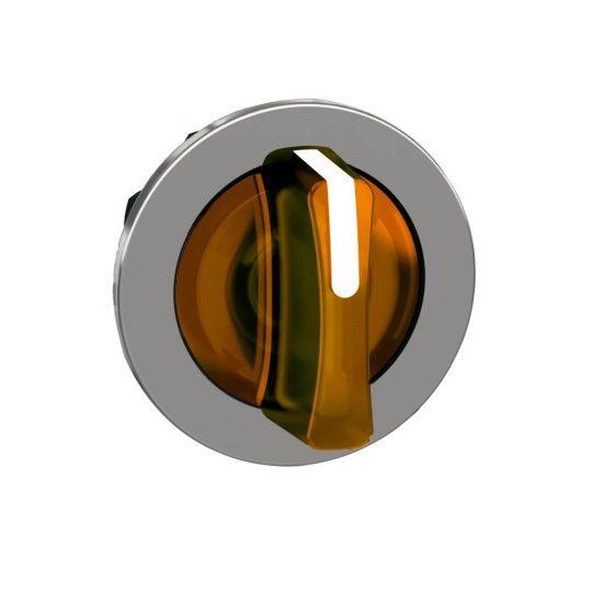 Schneider ZB4FK1753 Harmony panelbe süllyesztett fém világító választókapcsoló fej, Ø30, 3 állású, narancs, balról közép visszatérő