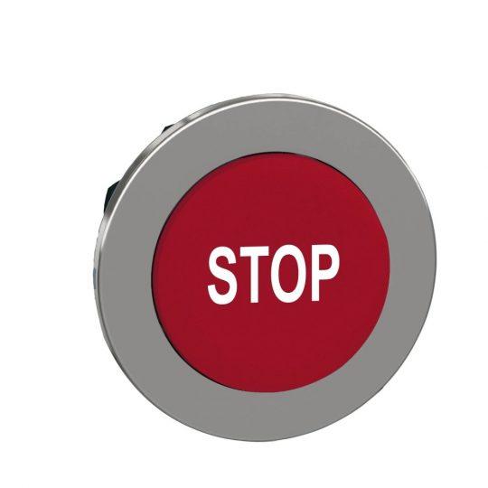 """Schneider ZB4FL434 Harmony panelbe süllyesztett fém nyomógomb fej, Ø30, kiemelkedő, piros, """"STOP"""""""