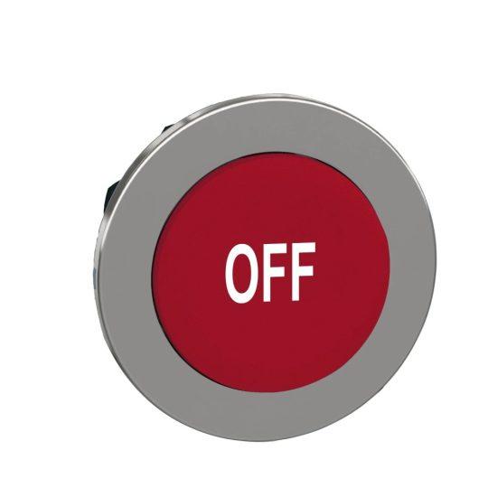 """Schneider ZB4FL435 Harmony panelbe süllyesztett fém nyomógomb fej, Ø30, kiemelkedő, piros, """"OFF"""""""
