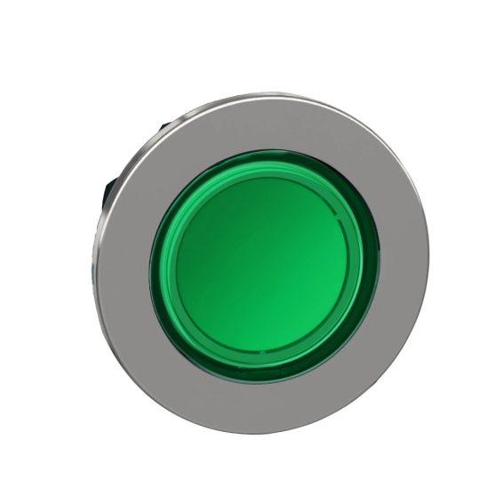 Schneider ZB4FW333 Harmony panelbe süllyesztett fém világító nyomógomb fej, Ø30, visszatérő, zöld