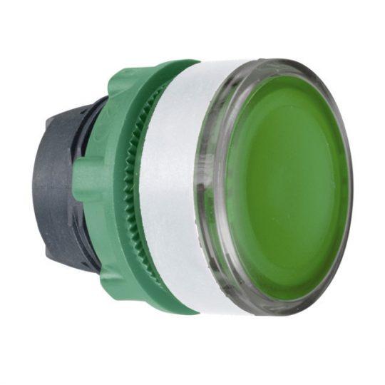 Schneider ZB5AW333SC1 Harmony műanyag világító nyomógomb fej, Ø22, visszatérő, beépített LED-hez, hornyolt lencsével, zöld, fehér perem