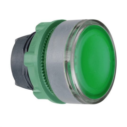 Schneider ZB5AW33C0 Harmony műanyag világító nyomógomb fej, Ø22, visszatérő, BA9s izzóhoz, zöld, szürke perem