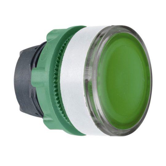 Schneider ZB5AW33C1 Harmony műanyag világító nyomógomb fej, Ø22, visszatérő, BA9s izzóhoz, zöld, fehér perem