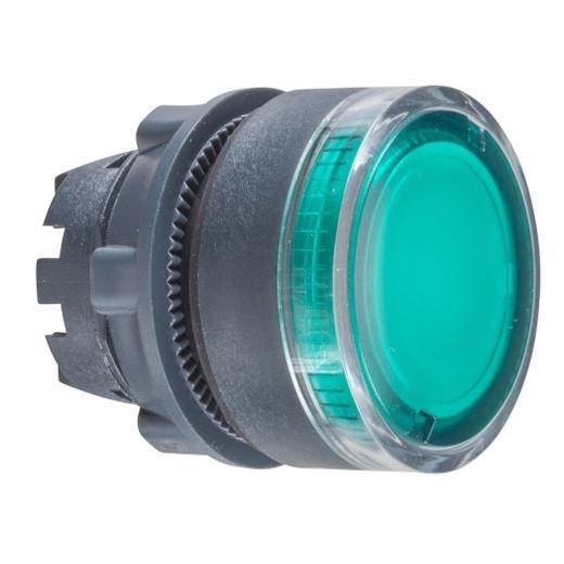 Schneider ZB5AW33TQ Harmony műanyag világító nyomógomb fej, Ø22, visszatérő, BA9s izzóhoz, zöld 100 darabos csomagban