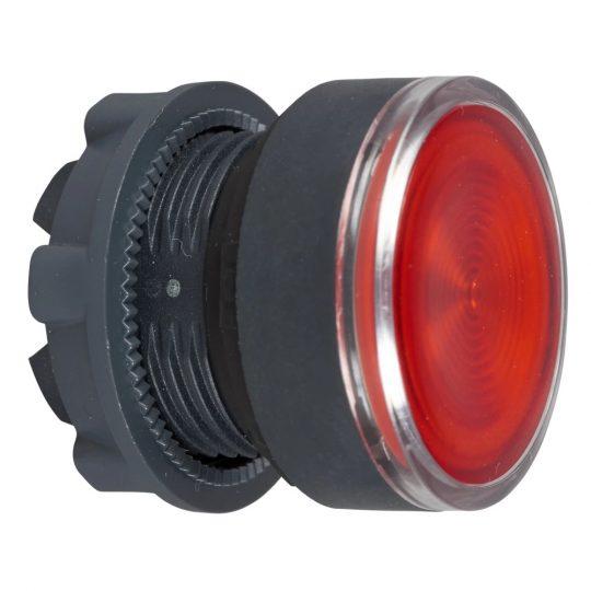 Schneider ZB5AW343S Harmony műanyag világító nyomógomb fej, Ø22, visszatérő, beépített LED-hez, hornyolt lencsével, piros