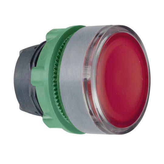 Schneider ZB5AW343SC0 Harmony műanyag világító nyomógomb fej, Ø22, visszatérő, beépített LED-hez, hornyolt lencsével, piros, szürke perem