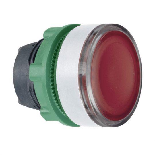 Schneider ZB5AW343SC1 Harmony műanyag világító nyomógomb fej, Ø22, visszatérő, beépített LED-hez, hornyolt lencsével, piros, fehér perem