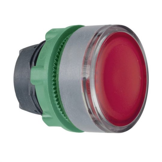 Schneider ZB5AW34C0 Harmony műanyag világító nyomógomb fej, Ø22, visszatérő, BA9s izzóhoz, piros, szürke perem