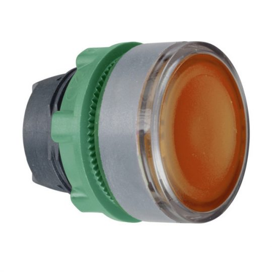 Schneider ZB5AW353C0 Harmony műanyag világító nyomógomb fej, Ø22, visszatérő, beépített LED-hez, narancssárga, szürke perem