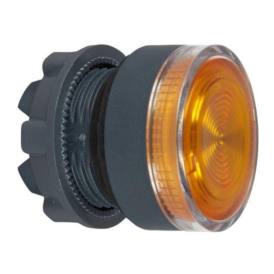 Schneider ZB5AW353S Harmony műanyag világító nyomógomb fej, Ø22, visszatérő, beépített LED-hez, hornyolt lencsével, narancssárga