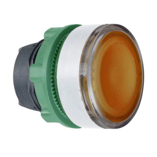 Schneider ZB5AW353SC1 Harmony műanyag világító nyomógomb fej, Ø22, visszatérő, beépített LED-hez, hornyolt lencsével, narancssárga, fehér p.