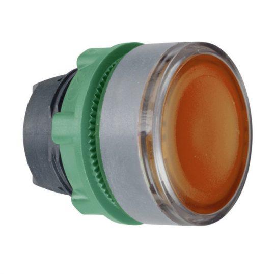 Schneider ZB5AW35C0 Harmony műanyag világító nyomógomb fej, Ø22, visszatérő, BA9s izzóhoz, narancssárga, szürke perem