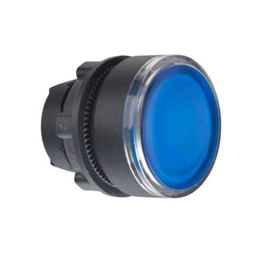 Schneider ZB5AW363 Harmony műanyag világító nyomógomb fej, Ø22, visszatérő, beépített LED-hez, kék