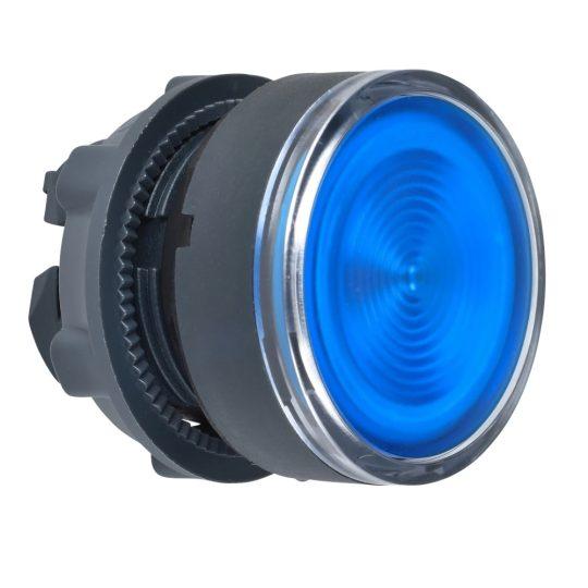 Schneider ZB5AW363S Harmony műanyag világító nyomógomb fej, Ø22, visszatérő, beépített LED-hez, hornyolt lencsével, kék
