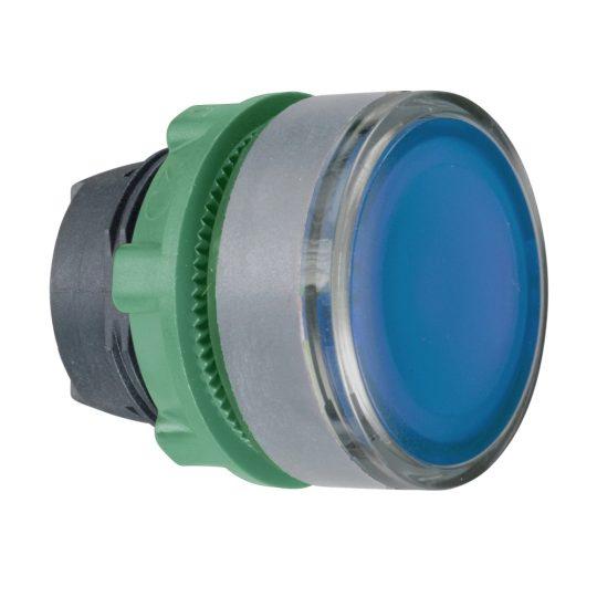 Schneider ZB5AW363SC0 Harmony műanyag világító nyomógomb fej, Ø22, visszatérő, beépített LED-hez, hornyolt lencsével, kék, szürke perem