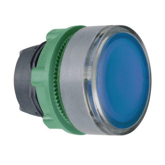 Schneider ZB5AW36C0 Harmony műanyag világító nyomógomb fej, Ø22, visszatérő, BA9s izzóhoz, kék, szürke perem