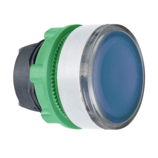 Schneider ZB5AW36C1 Harmony műanyag világító nyomógomb fej, Ø22, visszatérő, BA9s izzóhoz, kék, fehér perem