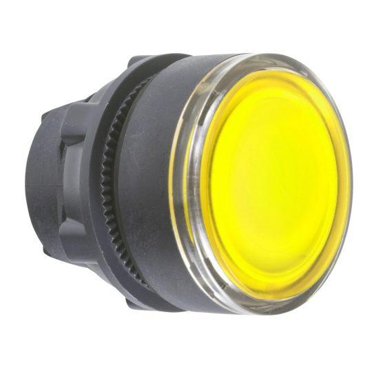 Schneider ZB5AW383 Harmony műanyag világító nyomógomb fej, Ø22, visszatérő, beépített LED-hez, sárga