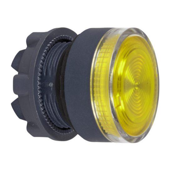 Schneider ZB5AW383S Harmony műanyag világító nyomógomb fej, Ø22, visszatérő, beépített LED-hez, hornyolt lencsével, sárga