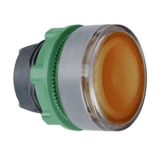 Schneider ZB5AW383SC0 Harmony műanyag világító nyomógomb fej, Ø22, visszatérő, beépített LED-hez, hornyolt lencsével, sárga, szürke perem