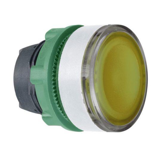 Schneider ZB5AW383SC1 Harmony műanyag világító nyomógomb fej, Ø22, visszatérő, beépített LED-hez, hornyolt lencsével, sárga, fehér perem