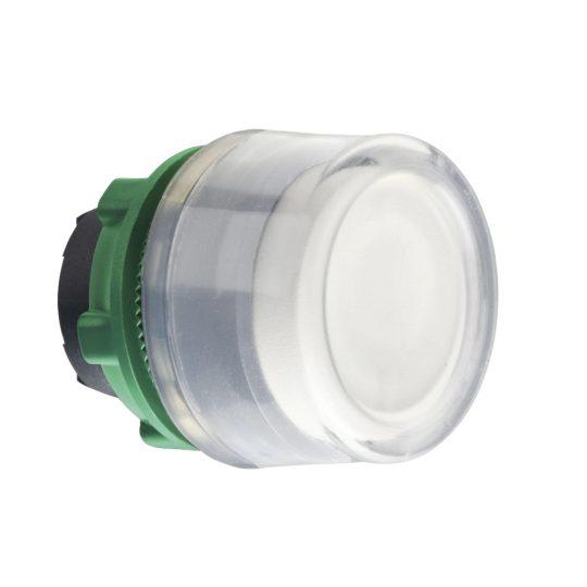 Schneider ZB5AW513C0 Harmony műanyag világító nyomógomb fej, Ø22, visszatérő, védősapkás, beépített LED-hez, fehér, szürke perem