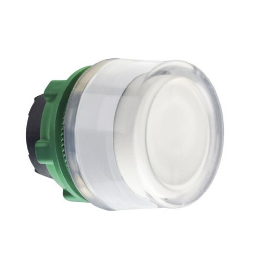 Schneider ZB5AW513C1 Harmony műanyag világító nyomógomb fej, Ø22, visszatérő, védősapkás, beépített LED-hez, fehér, fehér perem