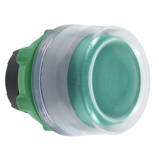 Schneider ZB5AW533C0 Harmony műanyag világító nyomógomb fej, Ø22, visszatérő, védősapkás, beépített LED-hez, zöld, szürke perem