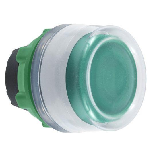 Schneider ZB5AW533C1 Harmony műanyag világító nyomógomb fej, Ø22, visszatérő, védősapkás, beépített LED-hez, zöld, fehér perem