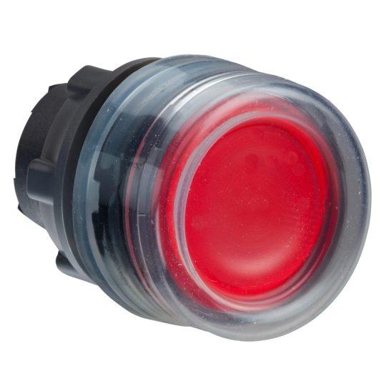 Schneider ZB5AW543 Harmony műanyag világító nyomógomb fej, Ø22, visszatérő, védősapkás, beépített LED-hez, piros
