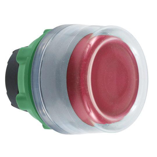 Schneider ZB5AW543C0 Harmony műanyag világító nyomógomb fej, Ø22, visszatérő, védősapkás, beépített LED-hez, piros, szürke perem