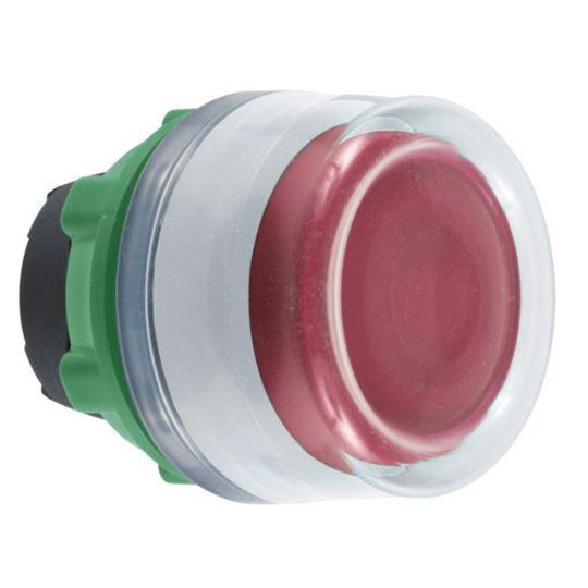 Schneider ZB5AW543C1 Harmony műanyag világító nyomógomb fej, Ø22, visszatérő, védősapkás, beépített LED-hez, piros, fehér perem