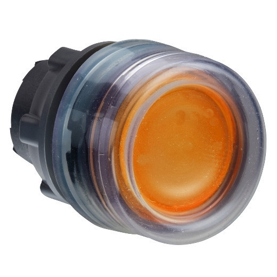 Schneider ZB5AW553 Harmony műanyag világító nyomógomb fej, Ø22, visszatérő, védősapkás, beépített LED-hez, narancssárga