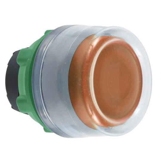 Schneider ZB5AW553C0 Harmony műanyag világító nyomógomb fej, Ø22, visszatérő, védősapkás, beépített LED-hez, narancssárga, szürke perem