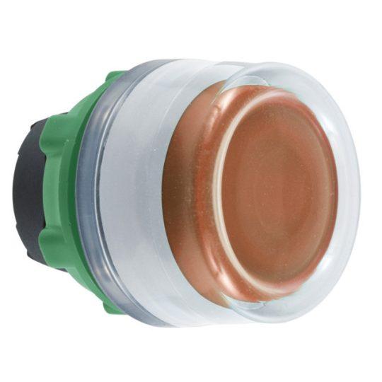 Schneider ZB5AW553C1 Harmony műanyag világító nyomógomb fej, Ø22, visszatérő, védősapkás, beépített LED-hez, narancssárga, fehér perem