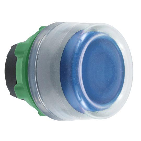 Schneider ZB5AW563C0 Harmony műanyag világító nyomógomb fej, Ø22, visszatérő, védősapkás, beépített LED-hez, kék, szürke perem