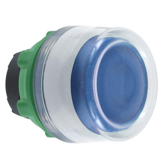 Schneider ZB5AW563C1 Harmony műanyag világító nyomógomb fej, Ø22, visszatérő, védősapkás, beépített LED-hez, kék, fehér perem