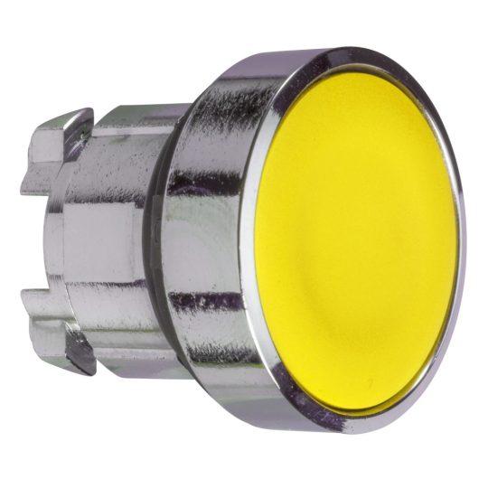 Schneider ZB5AW583 Harmony műanyag világító nyomógomb fej, Ø22, visszatérő, védősapkás, beépített LED-hez, sárga