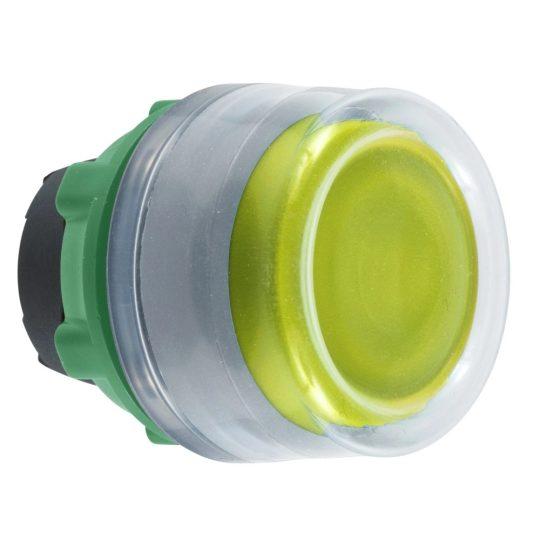 Schneider ZB5AW583C0 Harmony műanyag világító nyomógomb fej, Ø22, visszatérő, védősapkás, beépített LED-hez, sárga, szürke perem