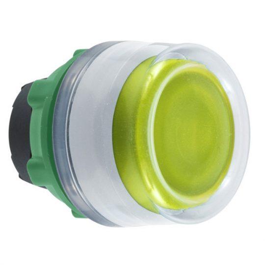 Schneider ZB5AW583C1 Harmony műanyag világító nyomógomb fej, Ø22, visszatérő, védősapkás, beépített LED-hez, sárga, fehér perem