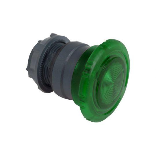 Schneider ZB5AW733 Harmony műanyag világító nyomógomb fej, Ø22, forgatásra kioldó, Ø40 gombafejű, beépített LED-hez, zöld