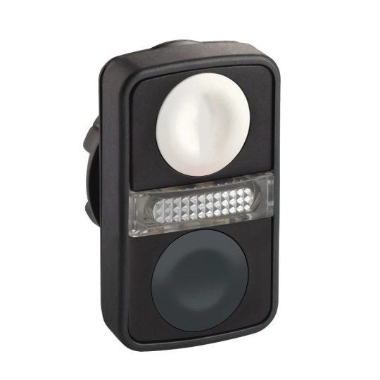 Schneider ZB5AW7A1720 Harmony műanyag világító kettősfejű nyomógomb fej, Ø22, visszatérő, 1 fehér 1 fekete nyomógomb