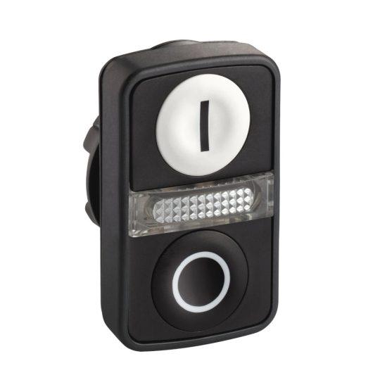 """Schneider ZB5AW7A1721 Harmony műanyag világító kettősfejű nyomógomb fej, Ø22, visszatérő, 1 fehér """"I"""", 1 fekete """"O"""" nyomógomb"""
