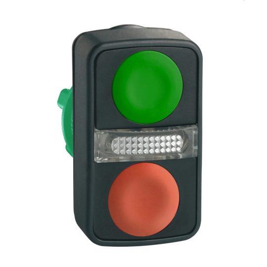 Schneider ZB5AW7A3740 Harmony műanyag világító kettősfejű nyomógomb fej, Ø22, visszatérő, 1 zöld 1 piros nyomógomb