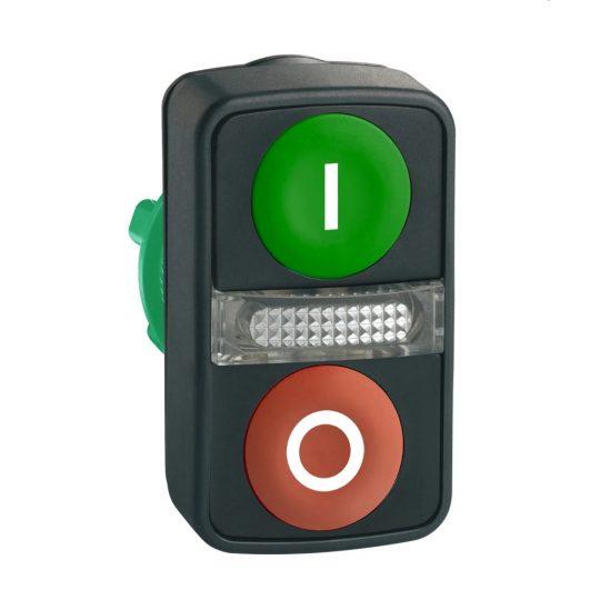 """Schneider ZB5AW7A3741 Harmony műanyag világító kettősfejű nyomógomb fej, Ø22, visszatérő, 1 zöld """"I"""", 1 piros """"O"""" nyomógomb"""