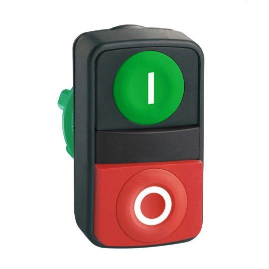 Schneider ZB5AW7L3740 Harmony műanyag világító kettősfejű nyomógomb fej, Ø22, visszatérő, 1 zöld 1 kiálló piros nyomógomb
