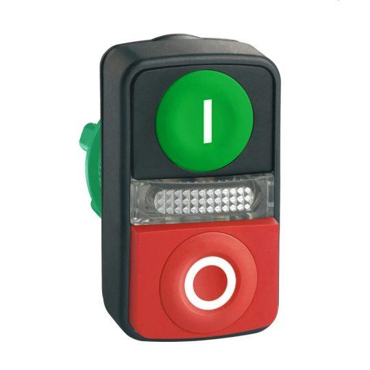 """Schneider ZB5AW7L3741 Harmony műanyag világító kettősfejű nyomógomb fej, Ø22, visszatérő, 1 zöld """"I"""", 1 kiálló piros """"O"""" nyomógomb"""