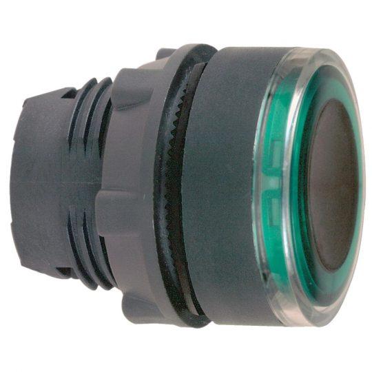 Schneider ZB5AW933 Harmony műanyag világító nyomógomb fej, Ø22, visszatérő, zölden világító perem